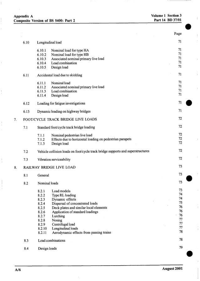 Appendix A Composite Version of BS 5400: Part 2 Volume 1 Section3 Part 14 BD 37/01 I 0 7. 8. 6.10 6.11 6.12 6.13 Longitudi...