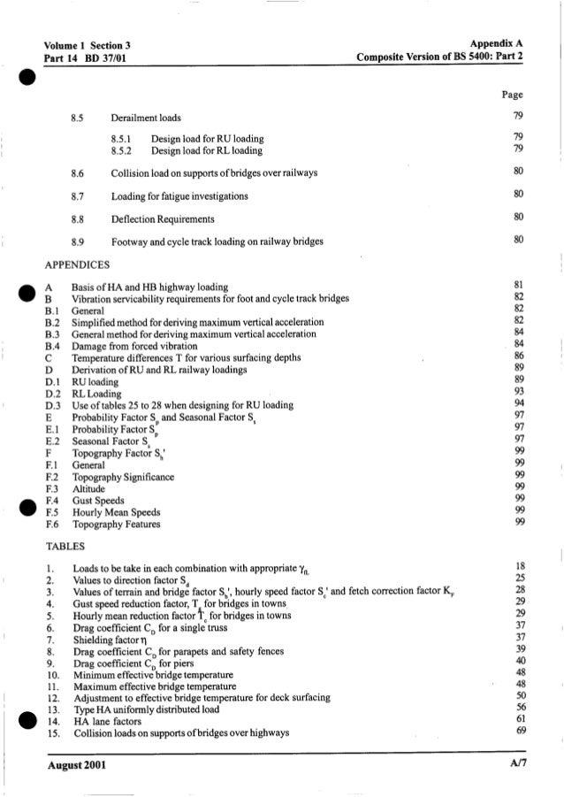 Volume 1 Section3 Part 14 BD 37/01 Appendix A CompositeVersion of BS 5400: Part 2 8.5 Derailment loads 8.5.1 8.5.2 Design ...