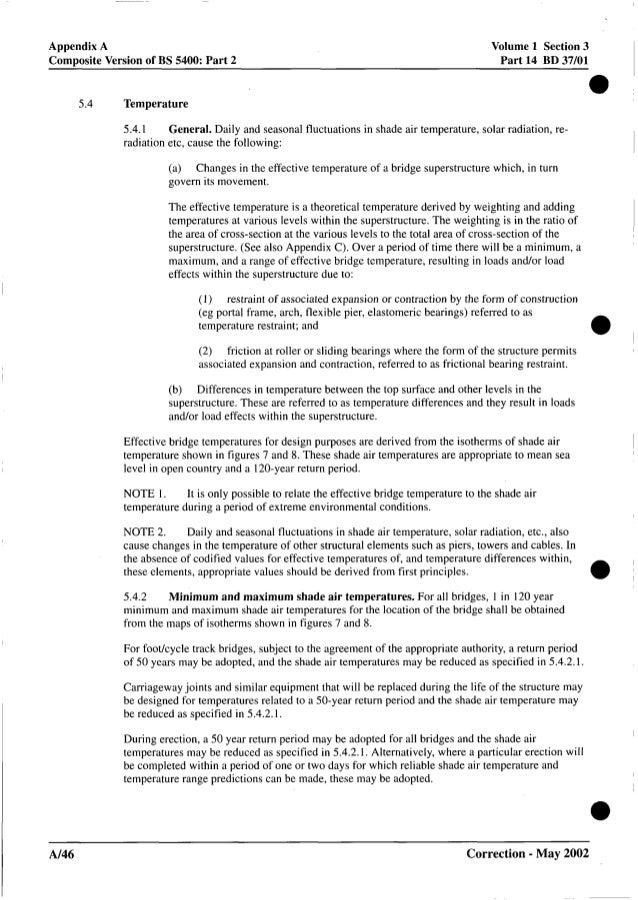 Appendix A Composite Version of BS 5400: Part 2 Volume 1 Section 3 Part 14 BD 37/01 5.4 Temperature 5.4.1 radiation etc, c...