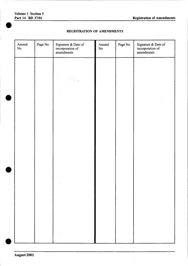 Volume 1 Section 3 Part 14 BD 37/01 Registration of Amendments 0 0 Amend No Page No REGISTRATION OF AMENDMENTS Signature &...