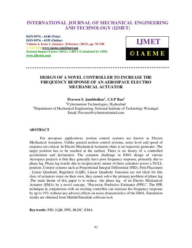 INTERNATIONALMechanical Engineering and Technology (IJMET), ISSN 0976 – International Journal of JOURNAL OF MECHANICAL ENG...