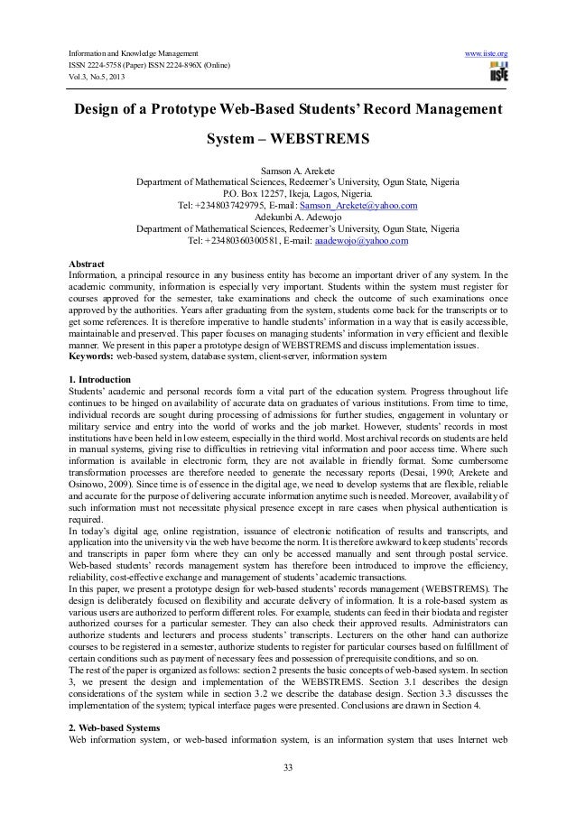 Information and Knowledge Management www.iiste.orgISSN 2224-5758 (Paper) ISSN 2224-896X (Online)Vol.3, No.5, 201333Design ...