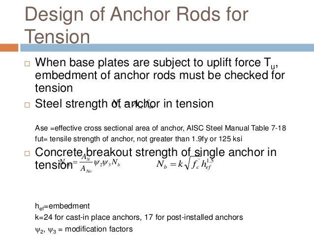 Design of column base plates anchor bolt