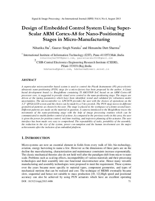 Signal & Image Processing : An International Journal (SIPIJ) Vol.4, No.4, August 2013 DOI : 10.5121/sipij.2013.4406 71 Des...