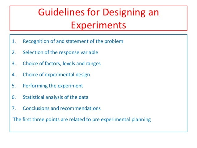 Planning Of Experiment In Industrial Research