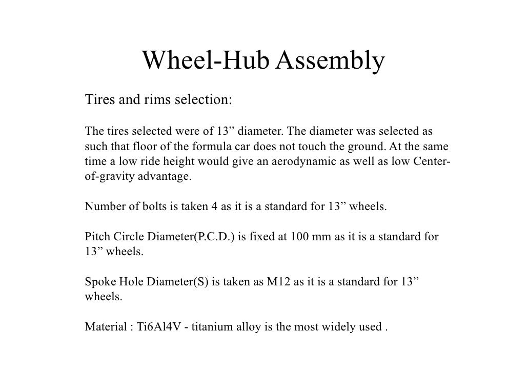 Design of half shaft and wheel hub assembly for racing car