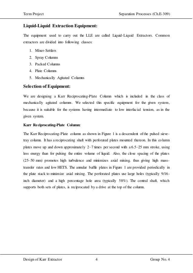 Design of karr extractor