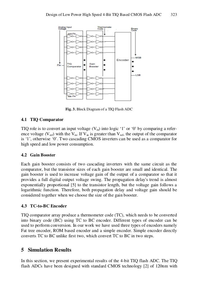 design of low power high speed 4 bit tiq based cmos flash adc 4-bit comparator schematic