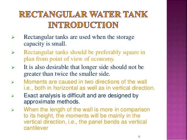 Design of overhead RCC rectangular water tank