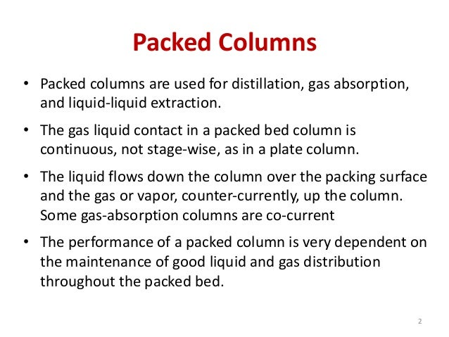 Design of packed columns
