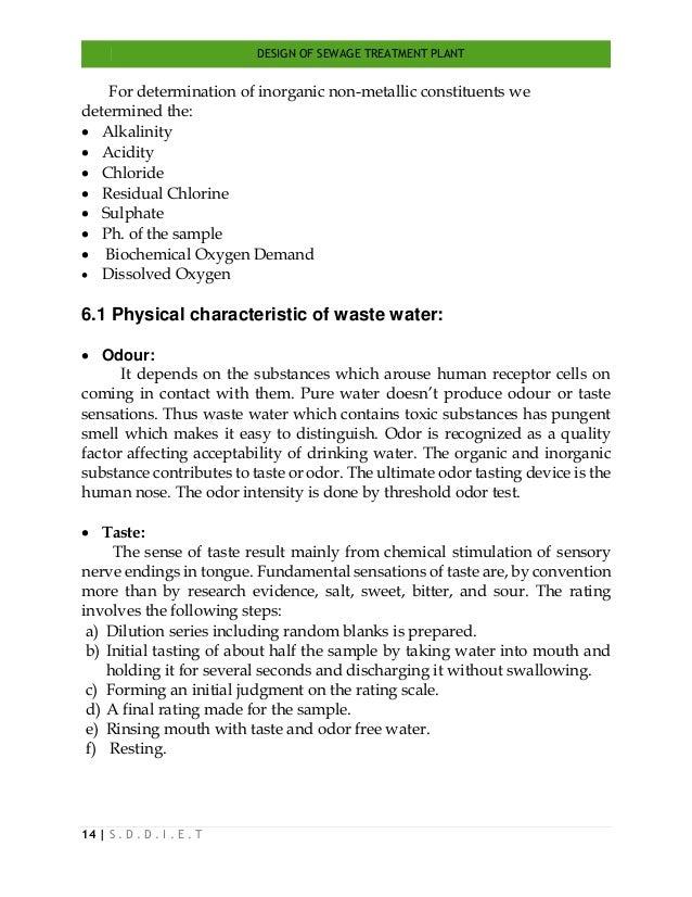 DESIGN OF SEWAGE TREATMENT PLANT 14   S . D . D . I . E . T For determination of inorganic non-metallic constituents we de...