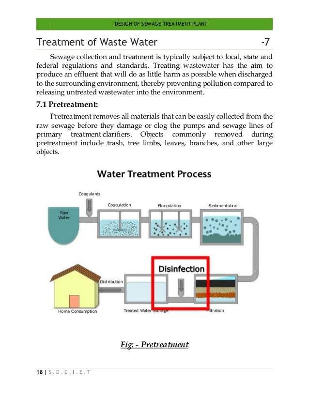 DESIGN OF SEWAGE TREATMENT PLANT 18   S . D . D . I . E . T Treatment of Waste Water -7 Sewage collection and treatment is...