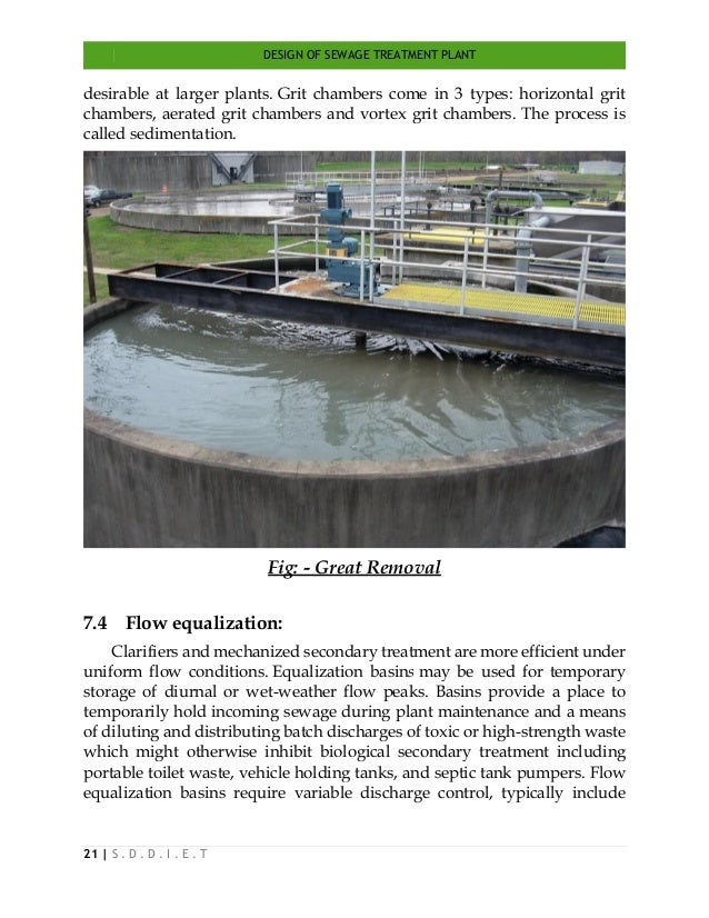 DESIGN OF SEWAGE TREATMENT PLANT 21   S . D . D . I . E . T desirable at larger plants. Grit chambers come in 3 types: hor...