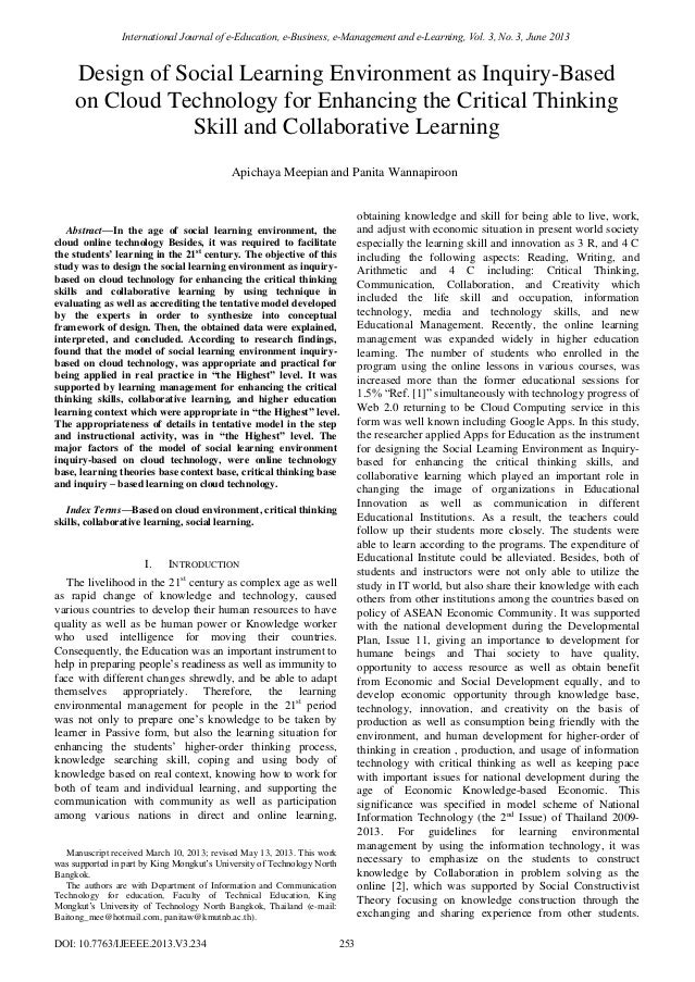  Abstract—In the age of social learning environment, the cloud online technology Besides, it was required to facilitate t...