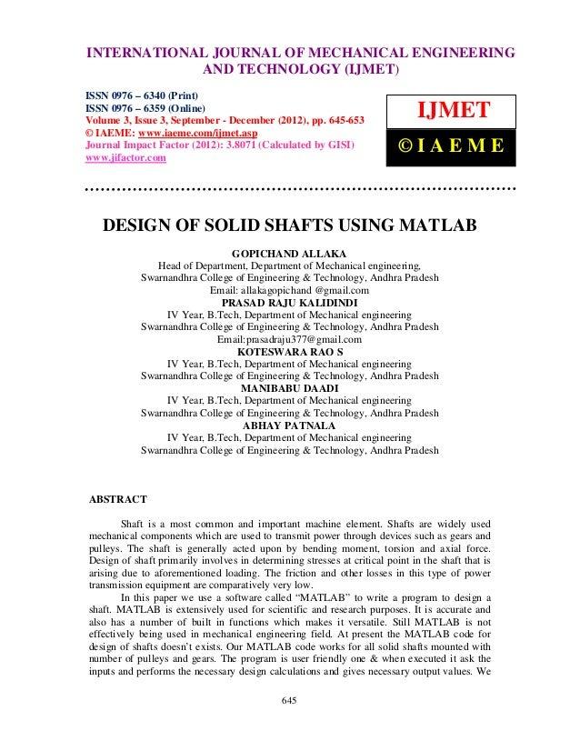 INTERNATIONAL JOURNAL and Technology (IJMET), ISSN ENGINEERINGInternational Journal of Mechanical Engineering             ...