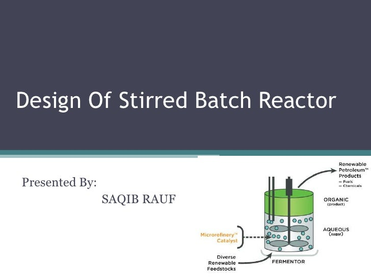Design Of Stirred Batch ReactorPresented By:                SAQIB RAUF