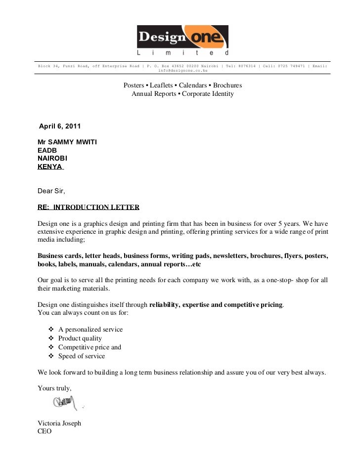 Introduction Letter Introduction Letter Template Of Introduction