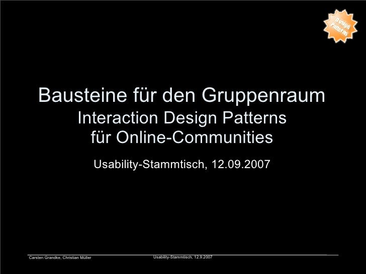 Bausteine für den Gruppenraum                          Interaction Design Patterns                            für Online-C...