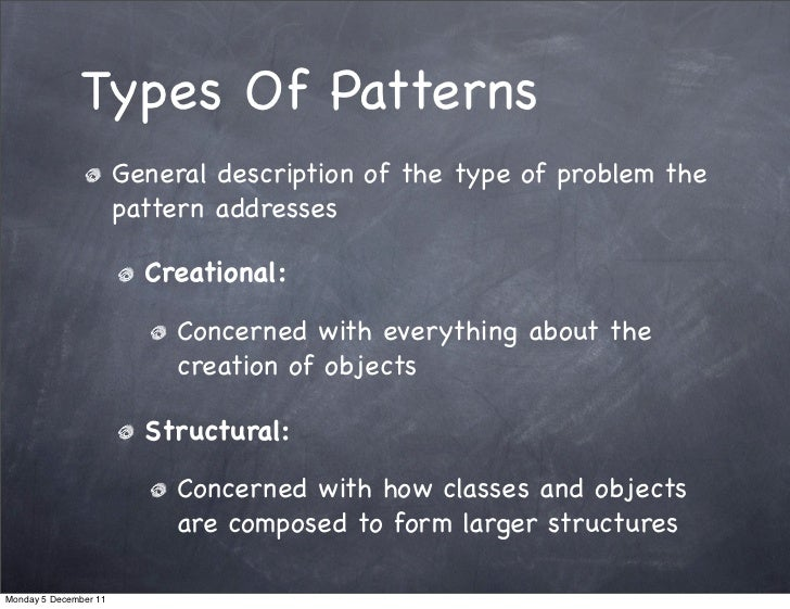 Types Of Patterns                       General description of the type of problem the                       pattern addre...
