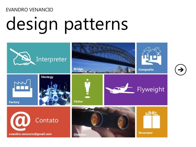 EVANDRO VENANCIO  design patterns  @  B  Interpreter  F  Bridge Strategy  Visitor  Factory  @  m  Contato  evandro.venanci...