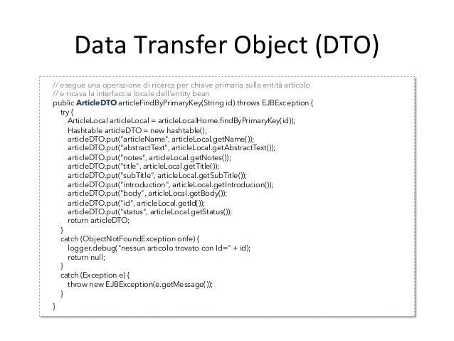 Data  Transfer  Object  (DTO)   Conseguenze   • Le  conseguenze  che  derivano  dall'uAlizzo  dei  ...