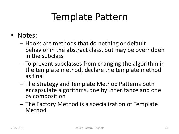 Design patterns tutorials template maxwellsz