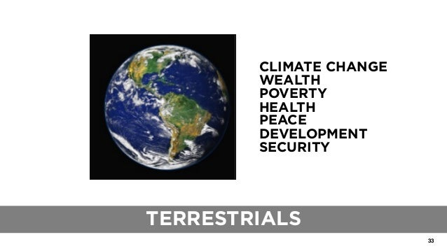 33 THE ROLE OF TRADITIONAL BLUEPRINTS CLIMATE CHANGE WEALTH POVERTY HEALTH PEACE DEVELOPMENT SECURITY TERRESTRIALS