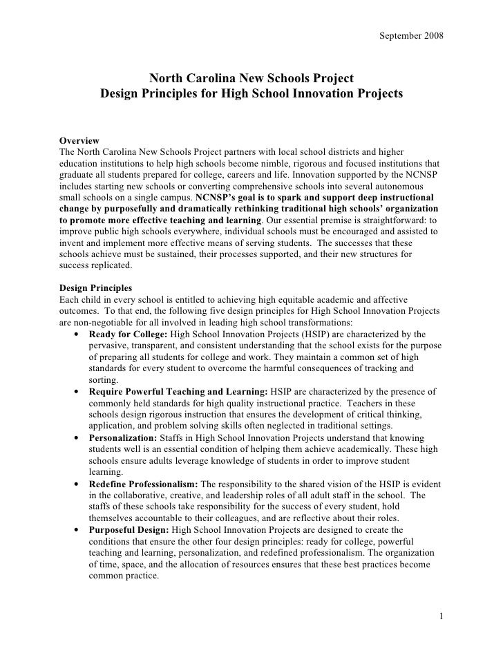 September 2008                      North Carolina New Schools Project           Design Principles for High School Innovat...
