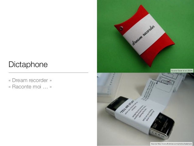 Dictaphone «Dream recorder»  «Raconte moi …» Source Gaver et al. (2004) Source http://www.flickriver.com/photos/katehe...