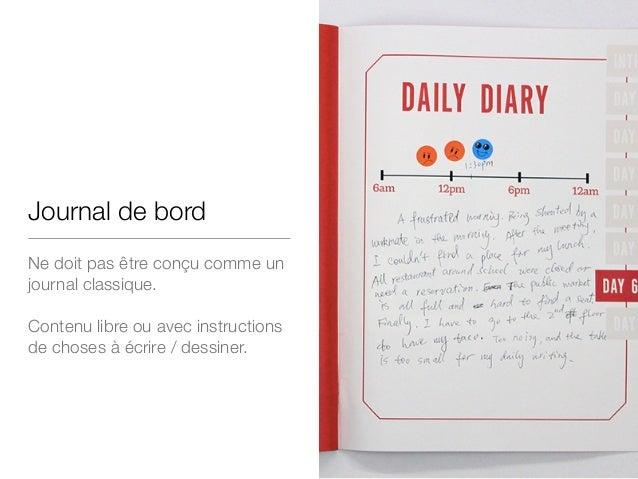 Journal de bord Ne doit pas être conçu comme un journal classique.  ! Contenu libre ou avec instructions de choses à écrir...