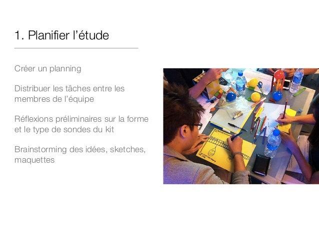 1. Planifier l'étude Créer un planning Distribuer les tâches entre les membres de l'équipe Réflexions préliminaires sur la...