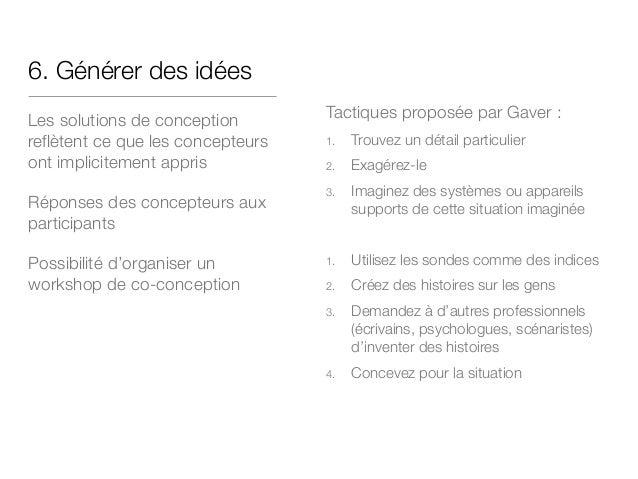 6. Générer des idées Les solutions de conception reflètent ce que les concepteurs ont implicitement appris Réponses des co...