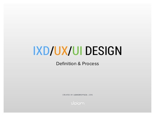 IXD/UX/UI DESIGN Definition & Process CREATED BY: LEANDRO PUCA - 2016