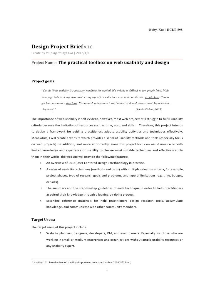 Ruby, Kuo | HCDE 598Design Project Brief v 1.0Create by Ru-ping (Ruby) Kuo | 2012/4/6Project Name: The practical toolbox o...