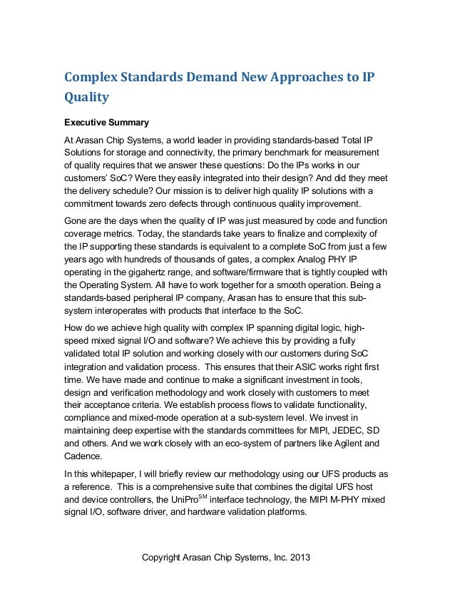 Copyright Arasan Chip Systems, Inc. 2013 Complex  Standards  Demand  New  Approaches  to  IP   Quality Execu...