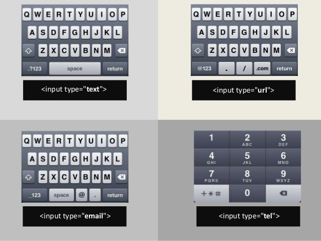"<input type=""text""> <input type=""url"">  <input type=""email""> <input type=""tel"">"