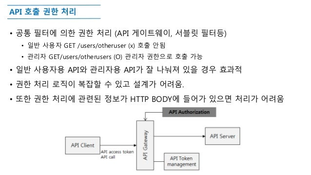 API 호출 권한 처리 • 공통 필터에 의한 권한 처리 (API 게이트웨이, 서블릿 필터등) • 일반 사용자 GET /users/otheruser (x) 호출 안됨 • 관리자 GET/users/otherusers (O)...