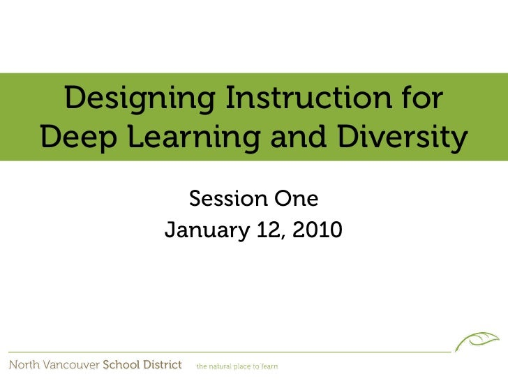 Designing Instruction for Deep Learning and Diversity          Session One        January 12, 2010