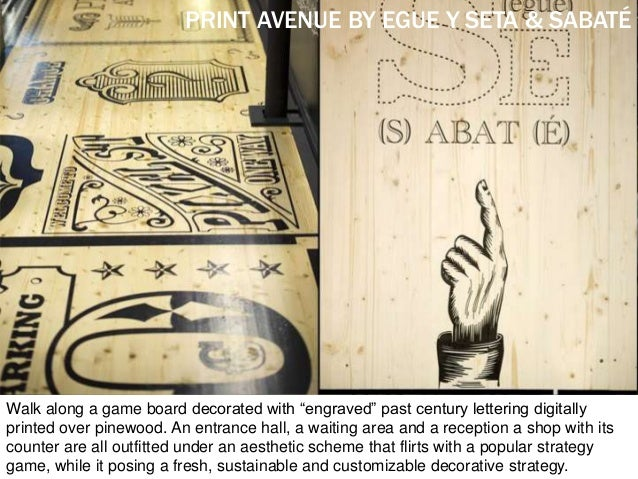 """Walk along a game board decorated with """"engraved"""" past century lettering digitally printed over pinewood. An entrance hall..."""