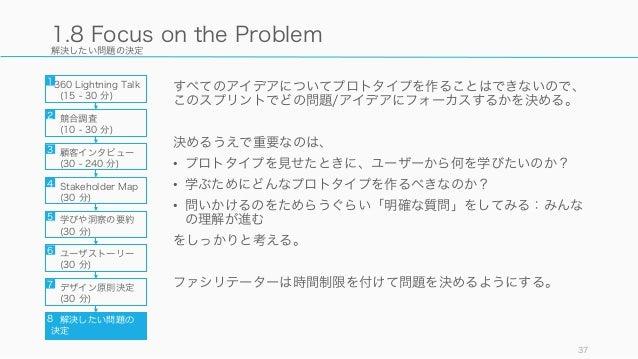 解決したい問題の決定 すべてのアイデアについてプロトタイプを作ることはできないので、 このスプリントでどの問題/アイデアにフォーカスするかを決める。 決めるうえで重要なのは、 • プロトタイプを見せたときに、ユーザーから何を学びたいのか? • ...