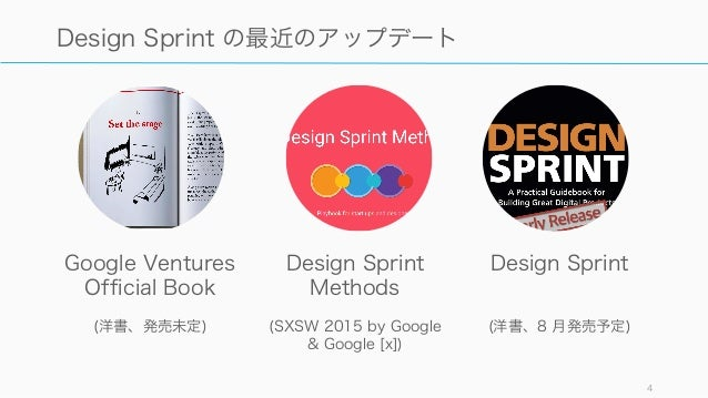 4 Design Sprint の最近のアップデート Google Ventures Official Book (洋書、発売未定) Design Sprint Methods (SXSW 2015 by Google & Google [x]...