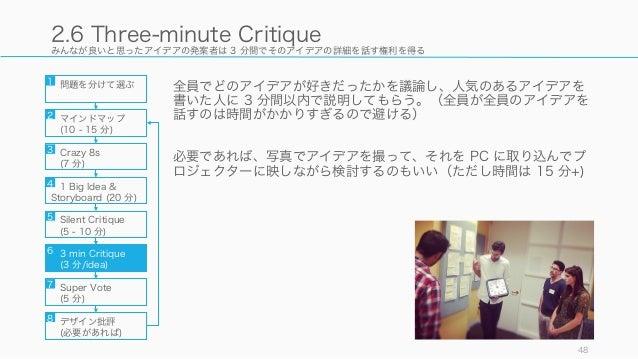 みんなが良いと思ったアイデアの発案者は 3 分間でそのアイデアの詳細を話す権利を得る 全員でどのアイデアが好きだったかを議論し、人気のあるアイデアを 書いた人に 3 分間以内で説明してもらう。(全員が全員のアイデアを 話すのは時間がかかりすぎる...