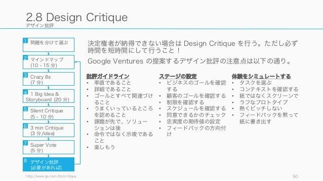 デザイン批評 決定権者が納得できない場合は Design Critique を行う。ただし必ず 時間を短時間にして行うこと! Google Ventures の提案するデザイン批評の注意点は以下の通り。 http://www.gv.com/li...