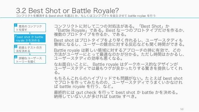 コンフリクトを解消する (best shot を選ぶ) か、もしくはコンフリクトを並立させて battle roylae を行う コンフリクトに対して二つの対処法がある。「Best Shot」か 「Battle Royale」である。Best ...