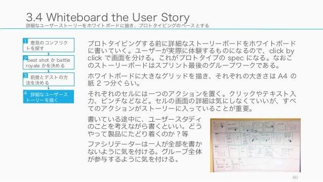 詳細なユーザーストーリーをホワイトボードに描き、プロトタイピングのベースとする プロトタイピングする前に詳細なストーリーボードをホワイトボード に書いていく。ユーザーが実際に体験するものになるので、click by click で画面を分ける。...
