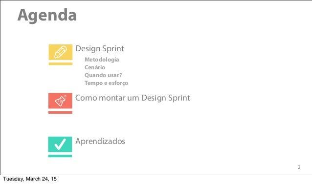 2 Agenda Design Sprint Aprendizados Como montar um Design Sprint Metodologia Cenário Quando usar? Tempo e esforço Tuesday,...