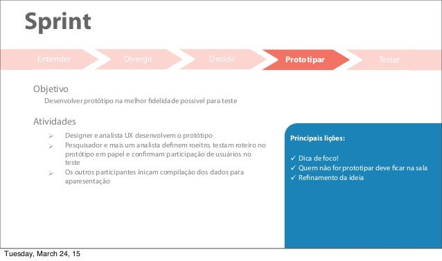 20 Decidir Testar Sprint Entender  Designer e analista UX desenvolvem o protótipo  Pesquisador e mais um analista define...