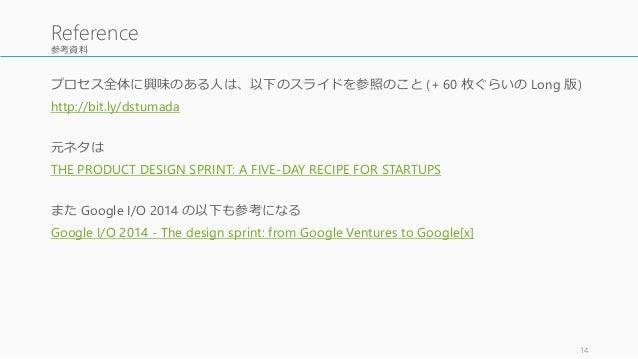 参考資料 プロセス全体に興味のある人は、以下のスライドを参照のこと (+ 60 枚ぐらいの Long 版) http://bit.ly/dstumada 元ネタは THE PRODUCT DESIGN SPRINT: A FIVE-DAY RE...