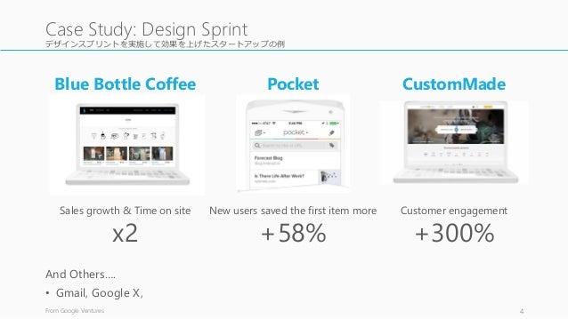 デザインスプリントを実施して効果を上げたスタートアップの例 And Others…. • Gmail, Google X, From Google Ventures 4 Case Study: Design Sprint Blue Bottle...