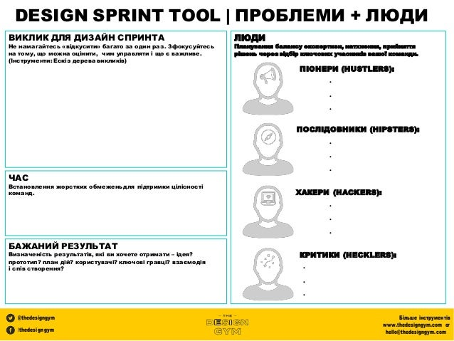 DESIGN SPRINT TOOL | ПРОБЛЕМИ + ЛЮДИ @thedesigngym /thedesigngym Більше інструментів www.thedesigngym.com or hello@thedesi...